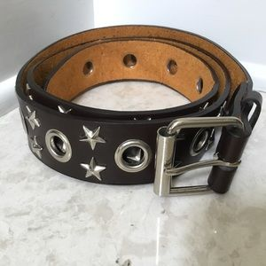 "Other - Brown leather Grommet Star Stud 1.5"" wide belt 44"